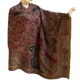 Wool shawl in paisley design, women bestselling two sided jamawar wrap wear  shwl0151r