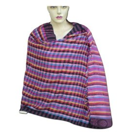 Handmade self design viscose stole with colorful checks women outerwear dress stle0055r
