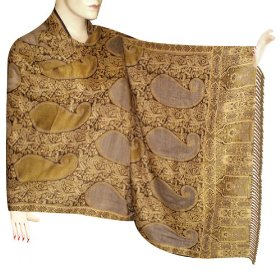 Handmade jamawar cotton stole in paisley design with bootie work & two side printed  stle0062r