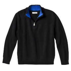 Boys' cherokee® black long-sleeve 1/4 zip sweater