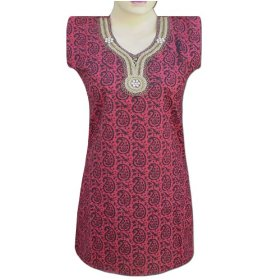 Indian handmade block printed cotton top with glass & plastic beads  lltop0069r