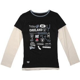 Reebok oakland raiders girls (7-16) long sleeve faux layer t-shirt