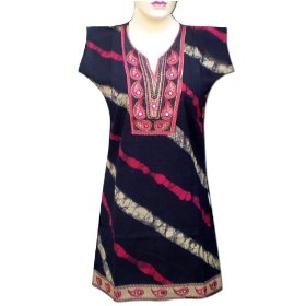Handmade jaipuri print with embroidered patch work & sheet miror  lltop0108r